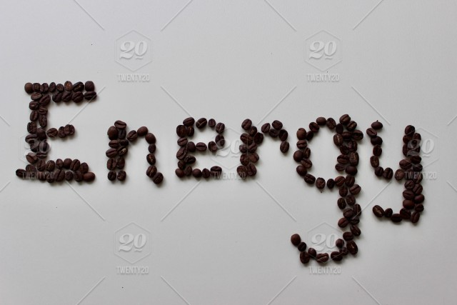 Coffee beans on white background  Energy, design concept