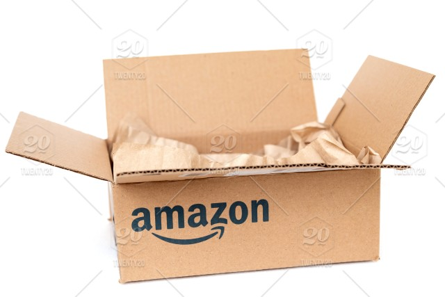 Amazon Cardboard Box With Paper Inside Isolated On White Background Recycling Concept White Gift Open Carton Package Moving Container Parcel Object Post Mail Pack Storage Send Deliver Paper Brown Square Empty Corrugated
