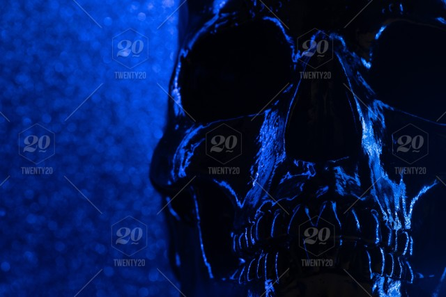 Human Blue Skull On Dark Background With Bokeh Concept Of
