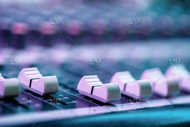 Close up of fader's on sound mixing console  Details of sound