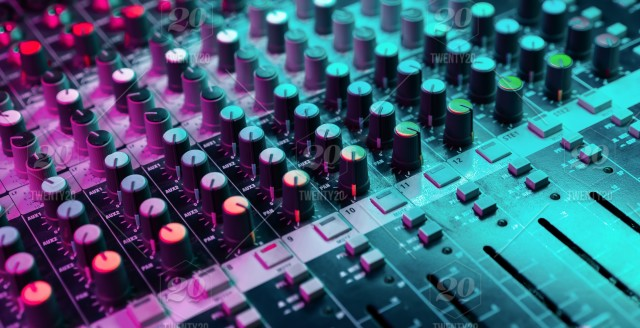 Close up of sound mixing console  Details of sound engineer