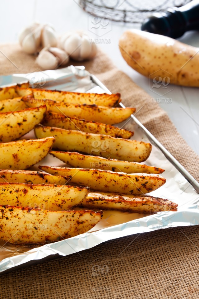 Baked Potato Wedges On Tray Homemade Organic Vegetable