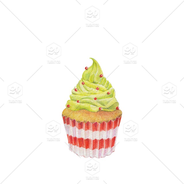 Hand Drawn Watercolor Of Cupcakes Isolated On White