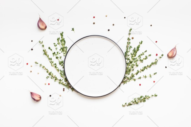 Flat Lay Overhead View Empty Plate Mockup Blank Text Space