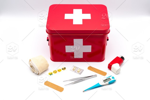 Medical first aid kit with supplies - accident, aid