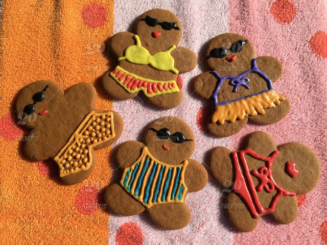 Christmas In July Swimsuit.Gingerbread Cookies Decorated With Swimsuits Made Of