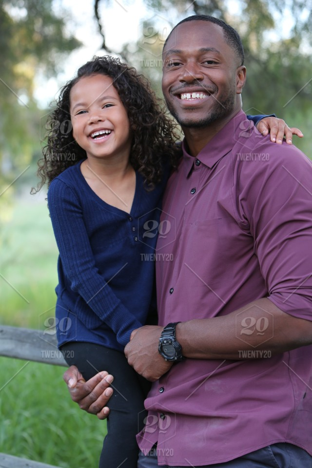 Diverse Father With Child Son Daughter Love Embrace Kiss