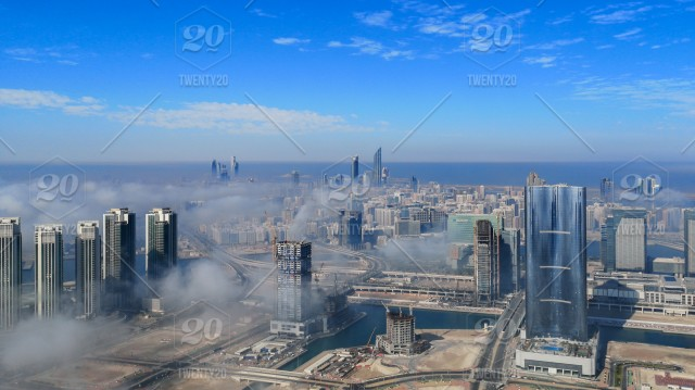 Aerial view of Abu Dhabi city skyline, famous towers and