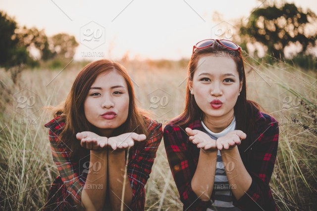 Blowing Kiss Two Pretty Girls Best Friends Having Fun Relaxing On