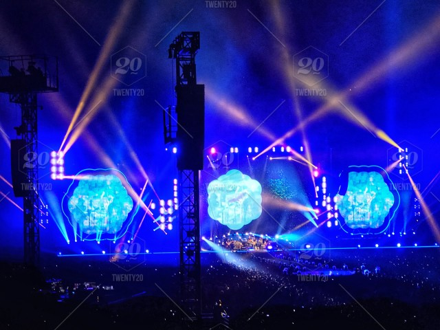 Vibrant, dazzling display of lights, magical music, paradise