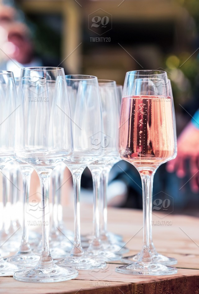 Sparkling Wine Served In Tall Glasses Stock Photo E23a80e1