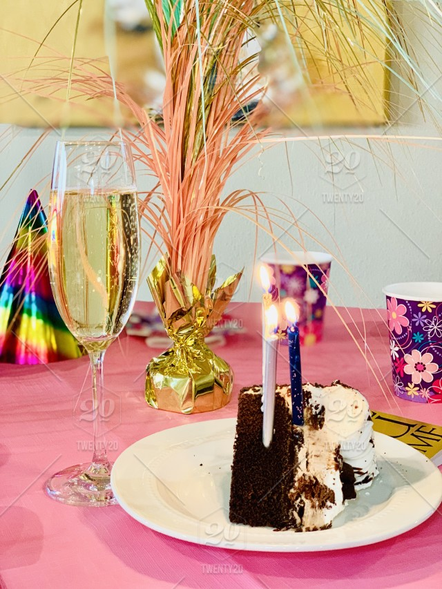 Birthday Cake Champagne Party Stock Photo Ab3b010d 8233