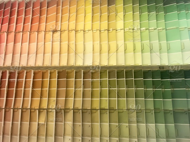 Flat view of paint samples, rainbow of color choices
