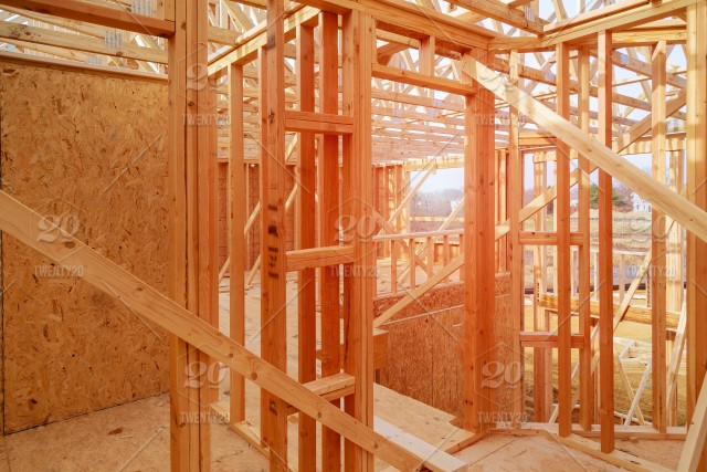New Suburban Homes Currently Under Construction In Row Wooden