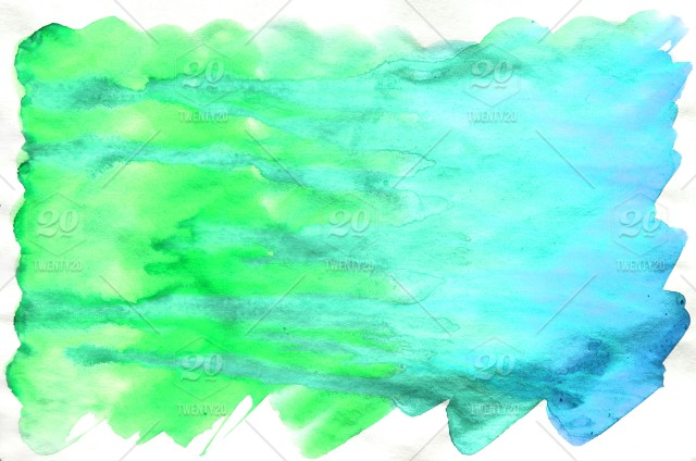 Colorful Blue Green Turquoise Watercolor Wet Brush Paint