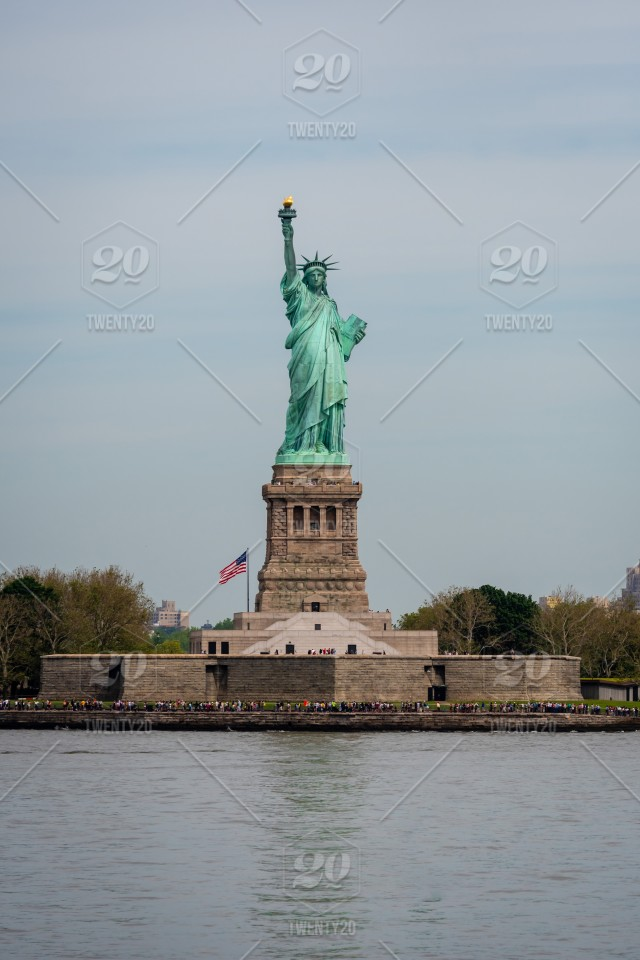 Ferry Boat Approaching The Statue Of Liberty Liberty Island