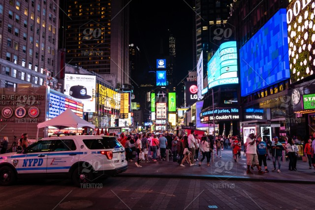 New York Usa City Lights And Traffic In Manhattan During