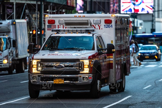 New York, USA, In the evening, a ambulance car with the