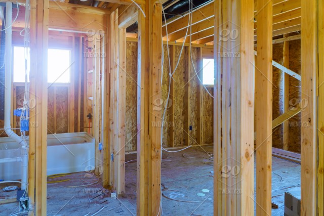 Interior framing beam of new house under construction home ...