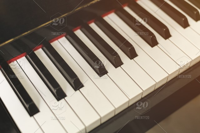 Close up of piano keyboard, Music concept  stock photo