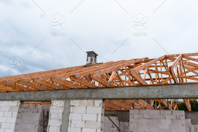 Roof Trusses Not Covered With Ceramic Tile On A Detached House