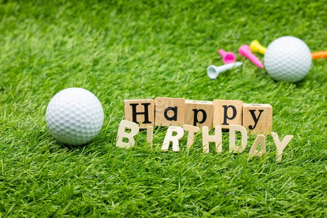 Happy birthday to golfer with golf ball and tee on green ...