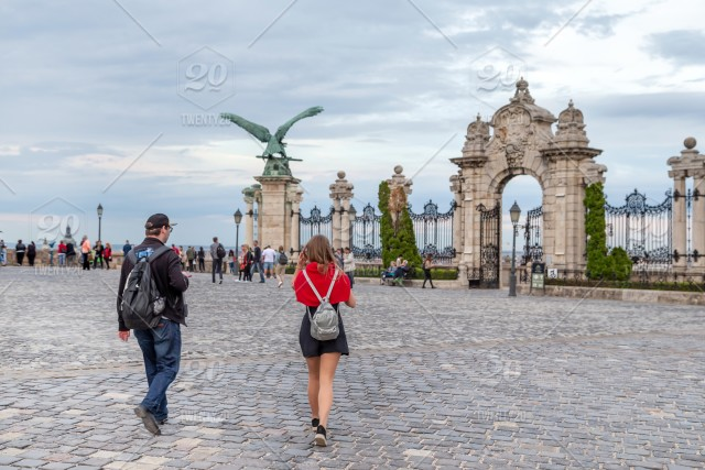 Friedns Exploring The City Of Budapest Hungary Travel Concept Ancient Backpack Capital Cathedral City Cityscape Couple Culture Day Europe Friends Happy Hidden Spot Historic History Hungary Landmark Landscape Lifestyle Male Man Old