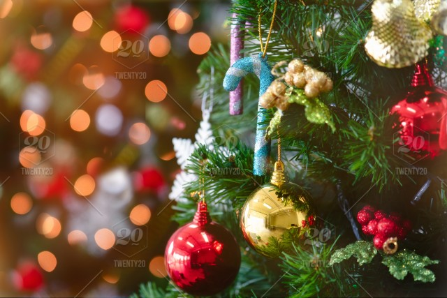 christmas tree with decorations bokeh blurred glow happy new year and merry x mas 2020 2021 backdrop background ball bauble bokeh box bright card celebration christmas closeup december decor decoration decorative design elegant card celebration christmas