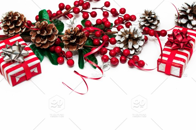 Christmas decor. Christmas card with a branch with red