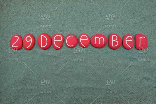 29 December Calendar Date Composed With Red Colored Stone Letters Over Green Sand Stock Photo F7eebe55 8555 437d 857a 033060c43982