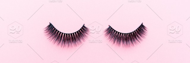 Eyelash False Cosmetic Beauty Background Artificial Care Fashion Glamour Accessory Black Lay Flat Eye Style Lash Makeup Brush Female Professional Object Pink Woman Top Extension Mascara Fake Make Up Concept Decorative