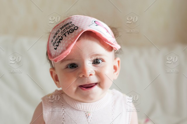 Smiling Baby Happy Little Girl In Pink Sleep Mask Waking Up Good Morning Nominated Stock Photo Eafc205d 1216 4dd9 922d 32964cbbb1fe