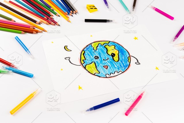 Children S Drawing Of Our Planet On A White Sheet Of Paper