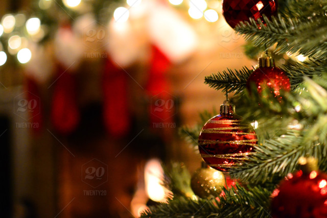 stock photo christmas christmas lights decor christmas tree fireplace home stockings gifts presents baca8509 b326 402b 8ccf a7055c23a234