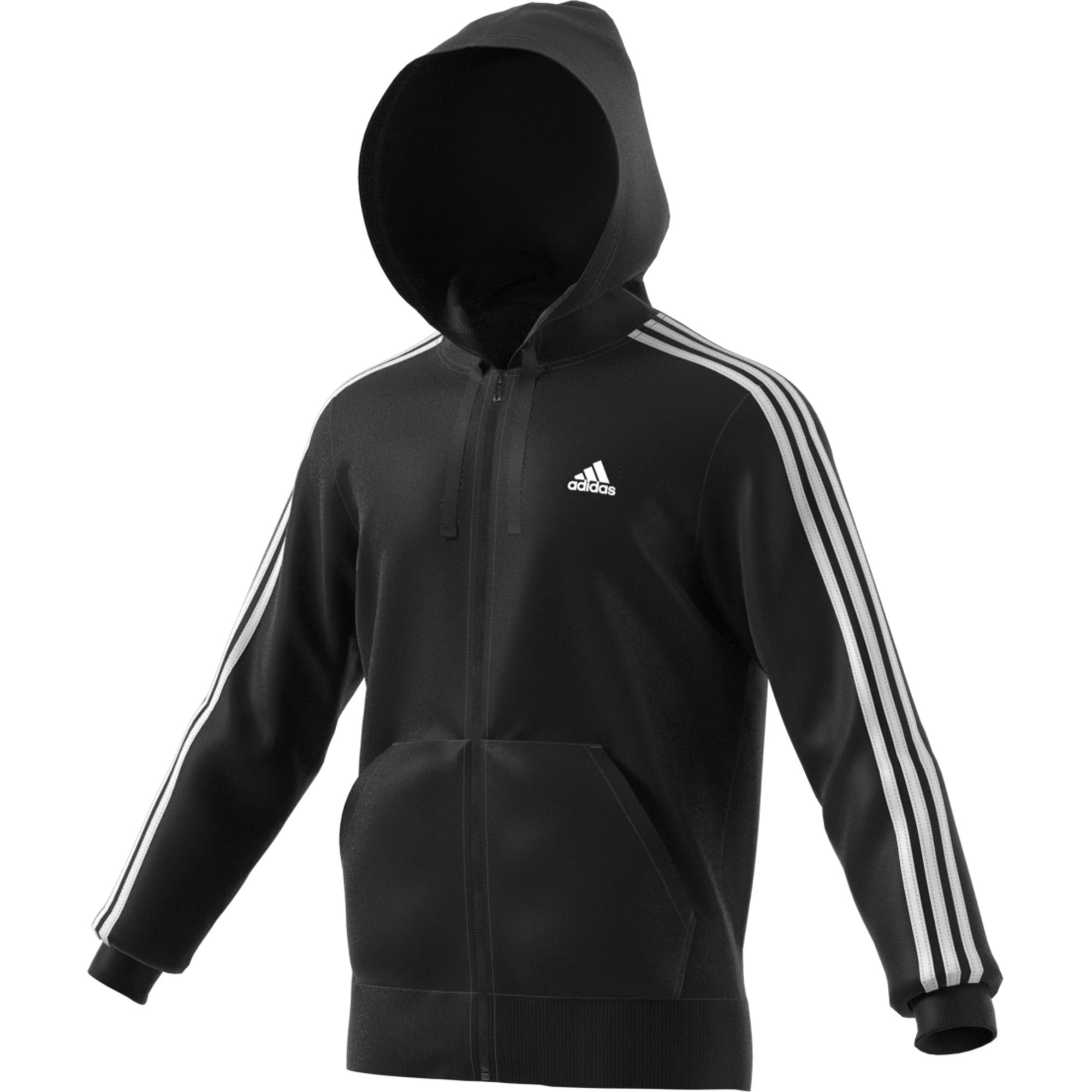 9c357bfe38f adidas Essentials 3 Stripes Full-Zip Hood - Sweatshirts / Hoodies for Men -  Black | 21RUN