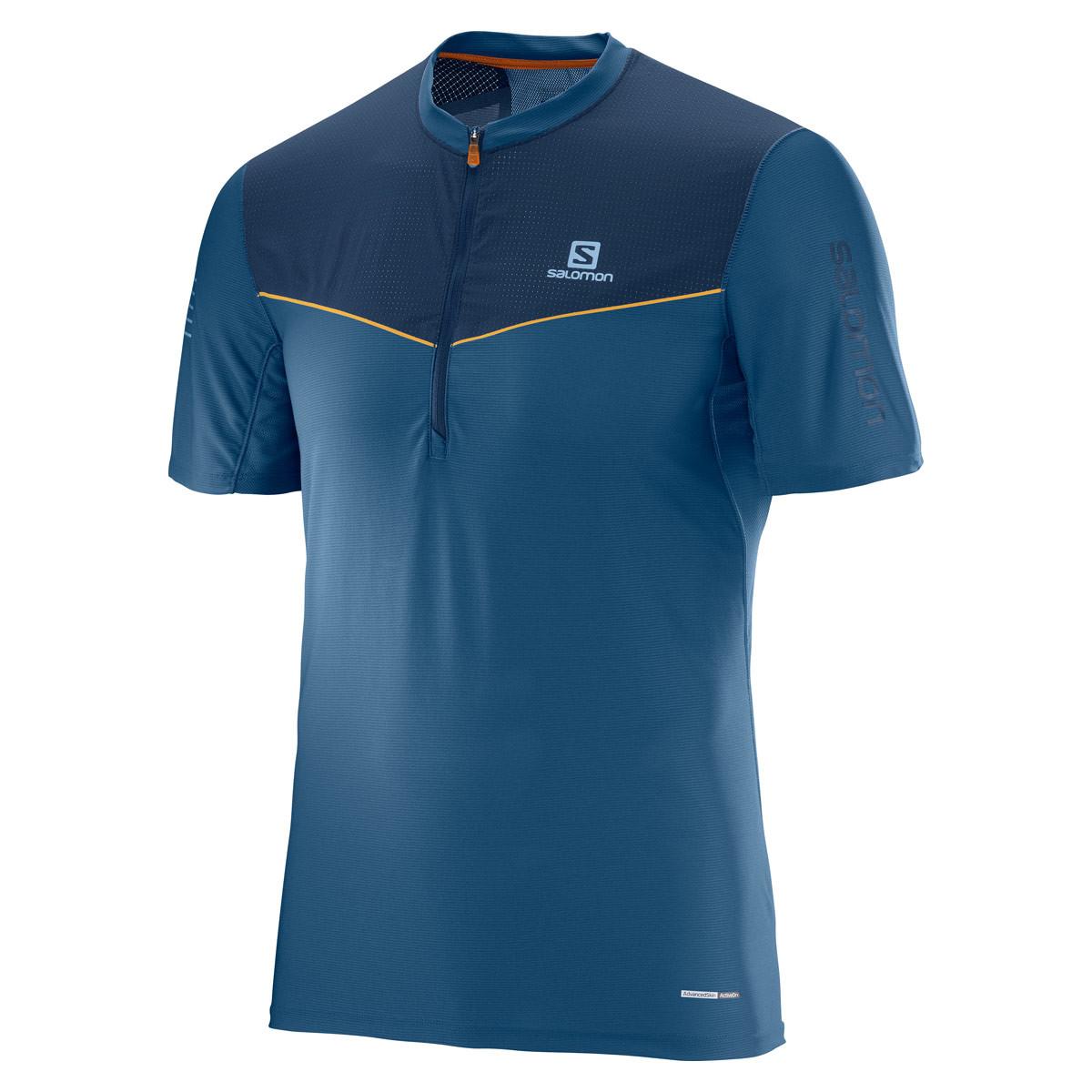Salomon Fast Wing HZ Short Sleeve Tee - Running tops for Men - Blue ... 645dbea804e30