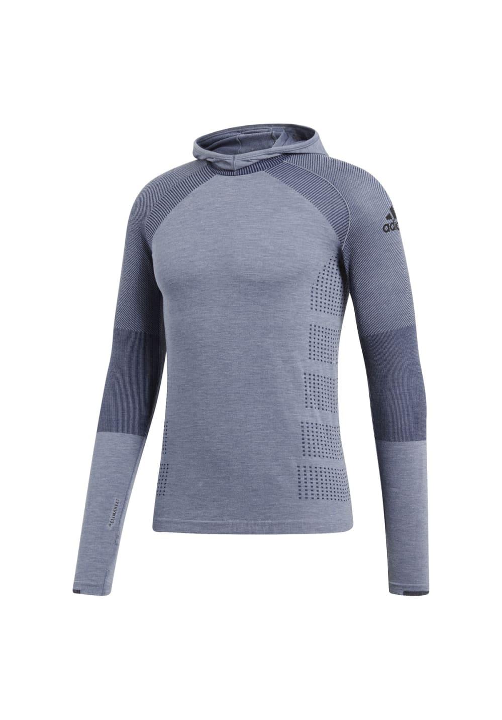 adidas Climaheat Primeknit Long Sleeve Hoody - Laufshirts für Herren - Grau, Gr