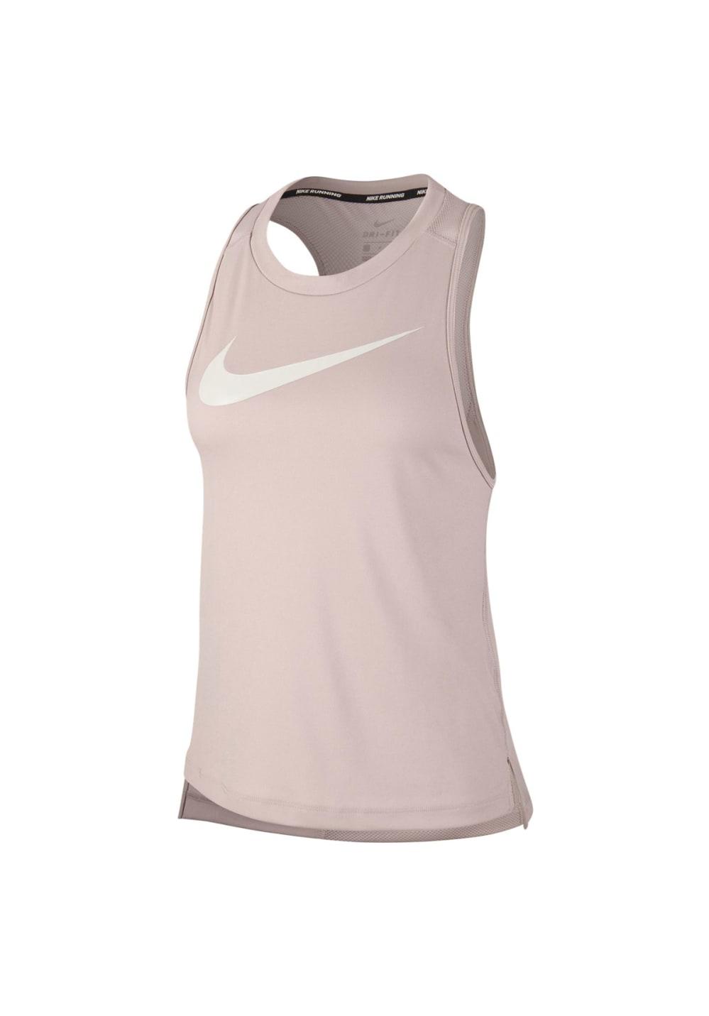 Sportmode für Frauen - Nike Dry Miler Running Tank Laufshirts für Damen Beige  - Onlineshop 21Run