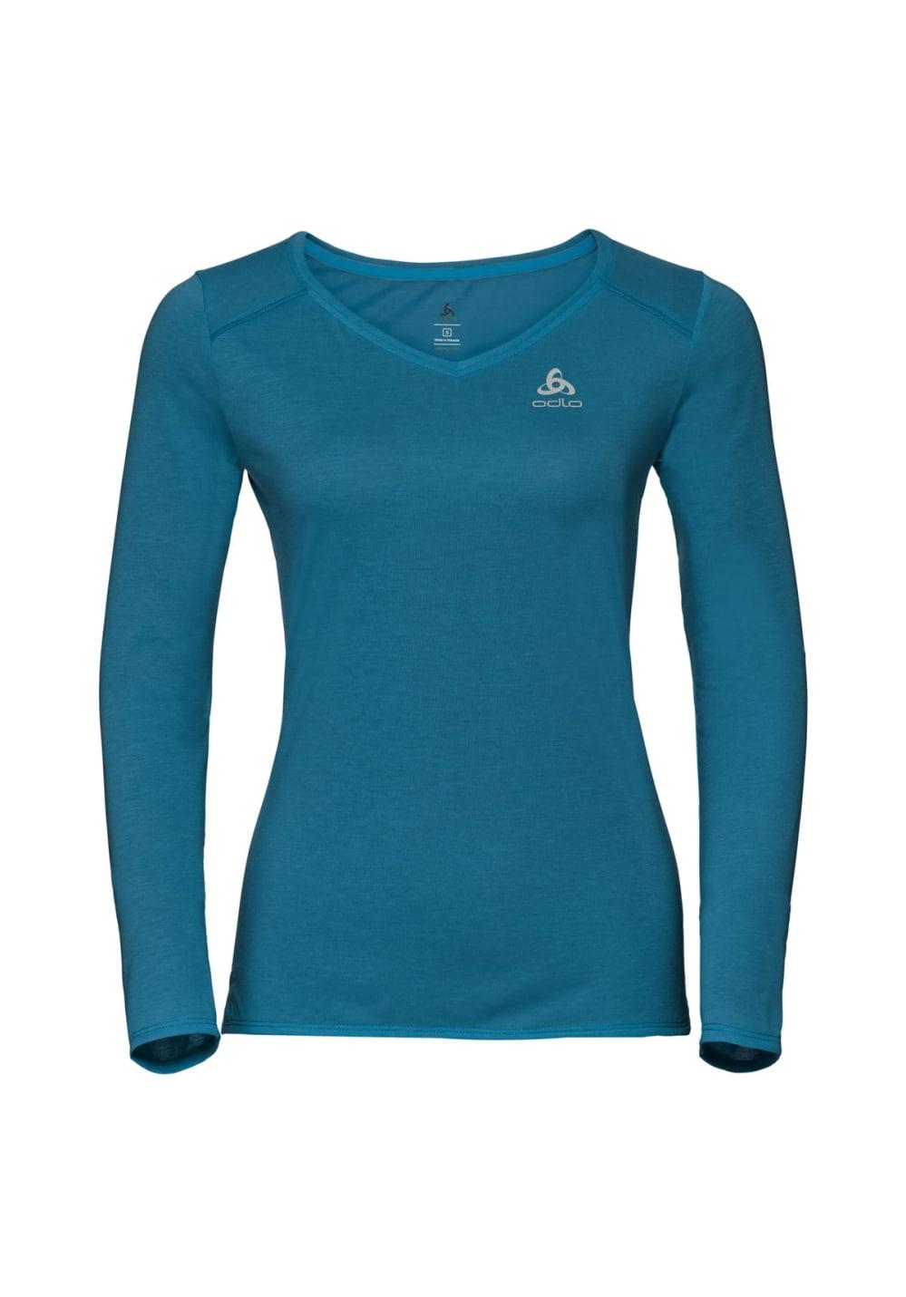 Sportmode für Frauen - Odlo Bl Top Crew Neck Long Sleeve Kumano Dry Laufshirts für Damen Blau  - Onlineshop 21Run