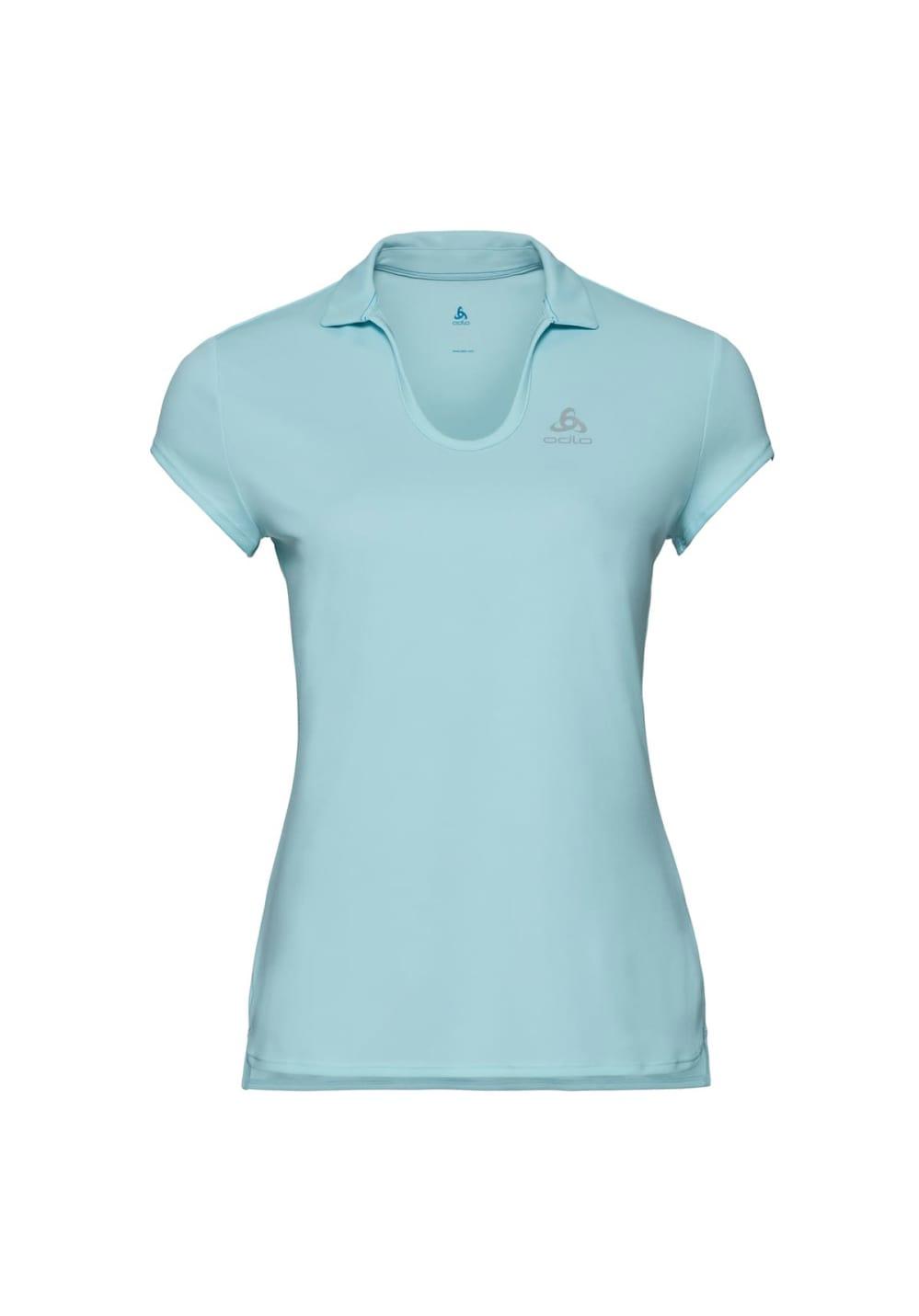 Sportmode für Frauen - Odlo Polo Short Sleeve Kumano Light Laufshirts für Damen Blau  - Onlineshop 21Run