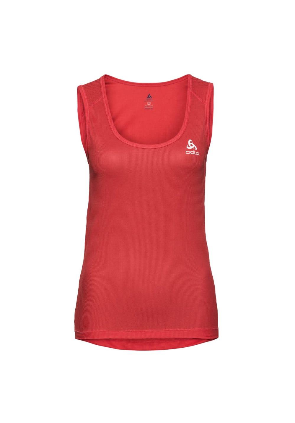 Sportmode für Frauen - Odlo Singlet Crew Neck Special Cubic St Laufshirts für Damen Rot  - Onlineshop 21Run
