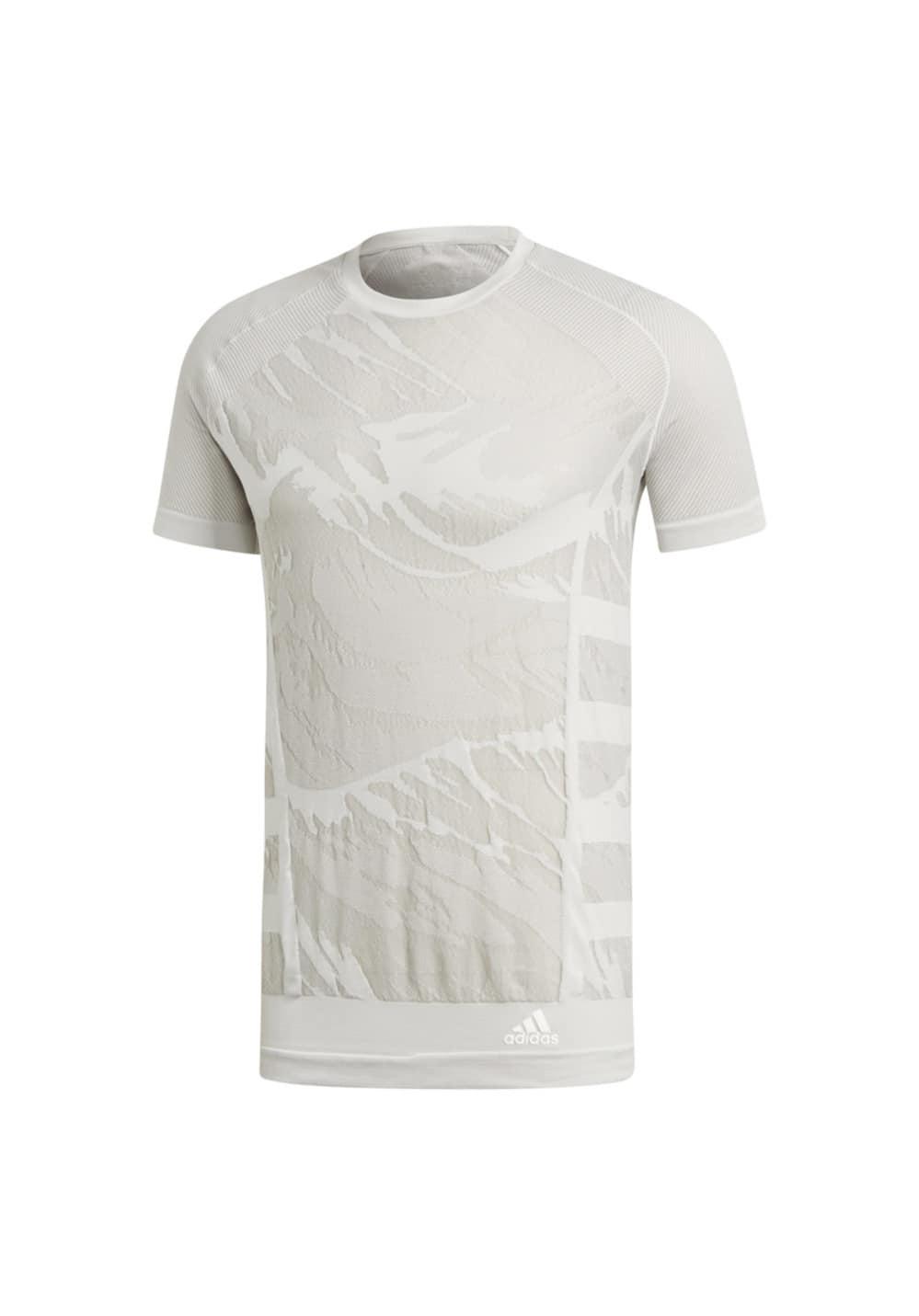 adidas Ultra Primeknit Parley Tee - Laufshirts für Herren - Weiß, Gr. XL