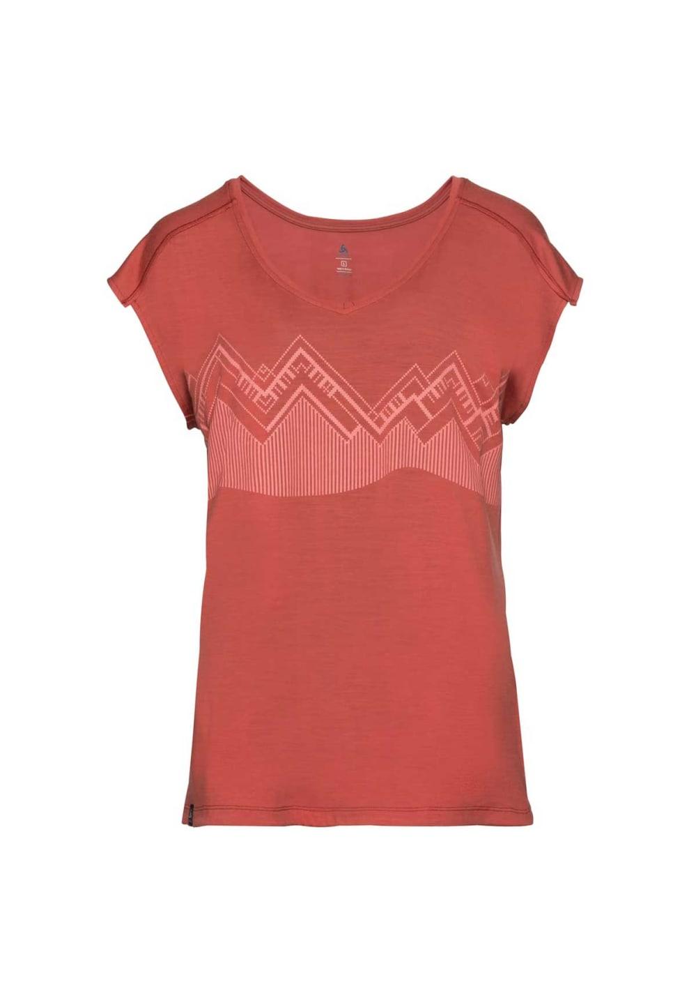 Sportmode für Frauen - Odlo Top Crew Neck Short Sleeve Alliance Laufshirts für Damen Rot  - Onlineshop 21Run