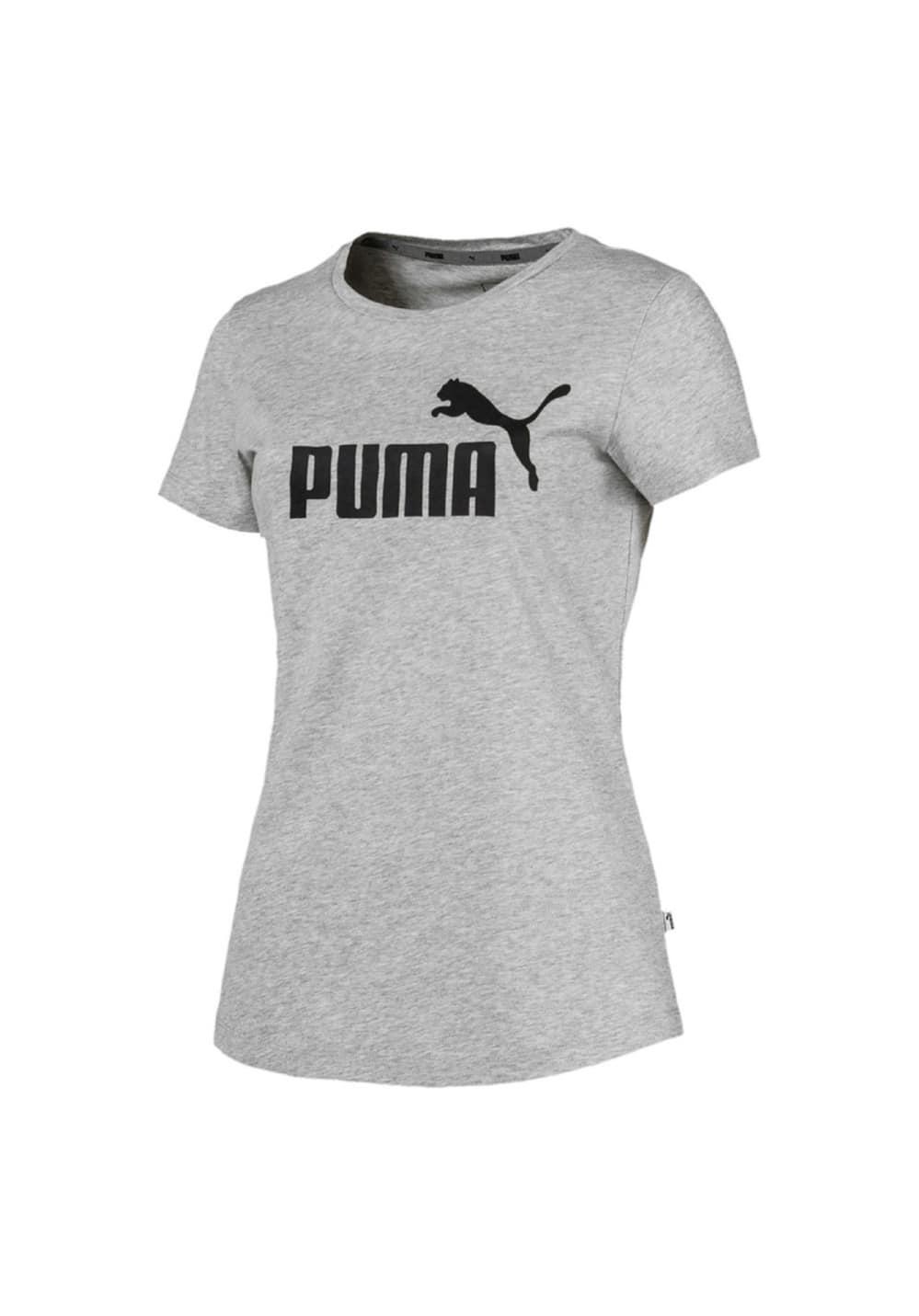 Puma Essential Logo Tee - Laufshirts für Damen - Grau, Gr. M