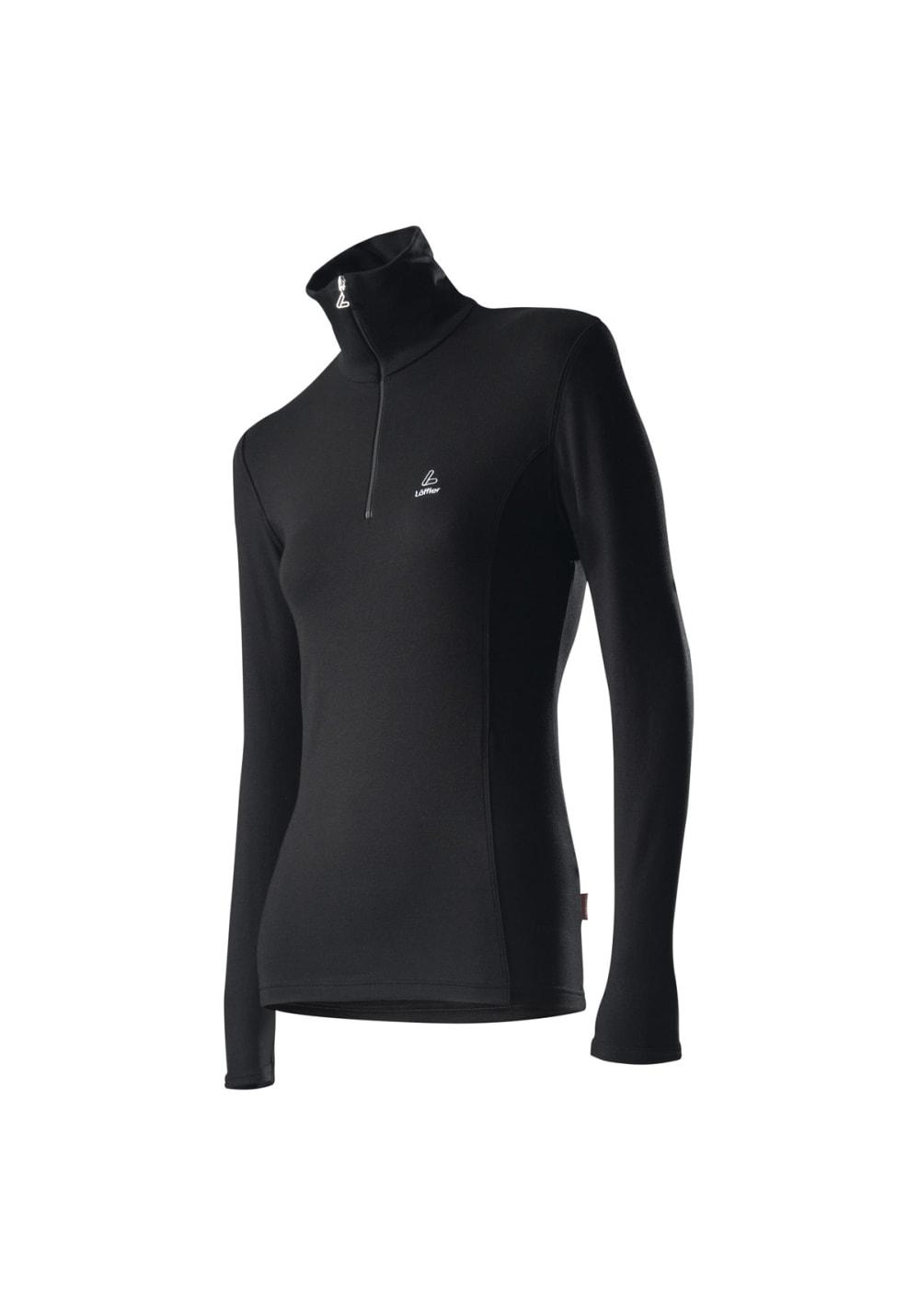 Löffler Transtex Zip-Sweater Basic - Laufshirts für Damen - Schwarz, Gr. 40