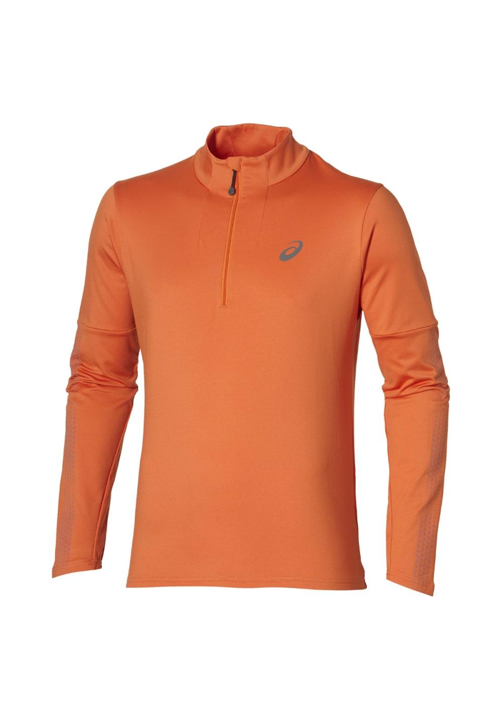 ASICS Lite-Show Long Sleeve 1/2 Zip - Laufshirts für Herren - Orange, Gr. XL