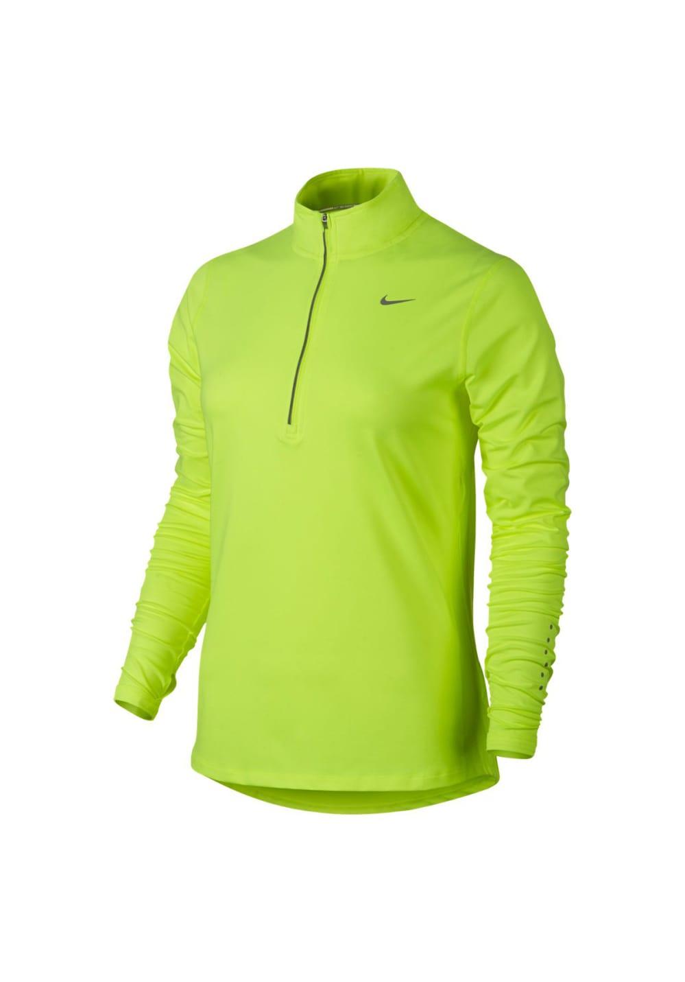 De Para Half Long Element Nike Fit Zip Dri Sleeve Mujer Camisetas Amarillo Running 9HID2E