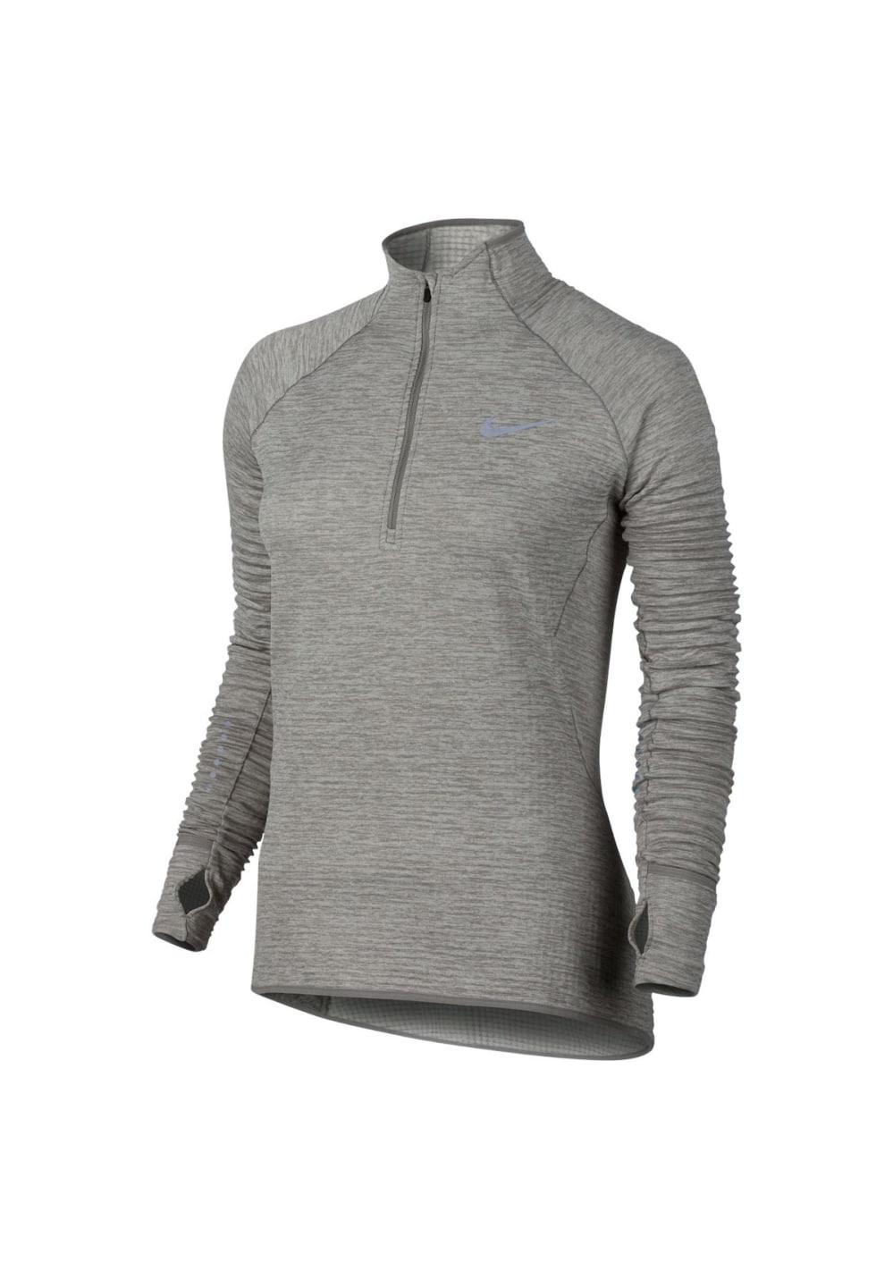 Nike Element Sphere Longsleeve Half Zip - Laufshirts für Damen - Grau, Gr. L