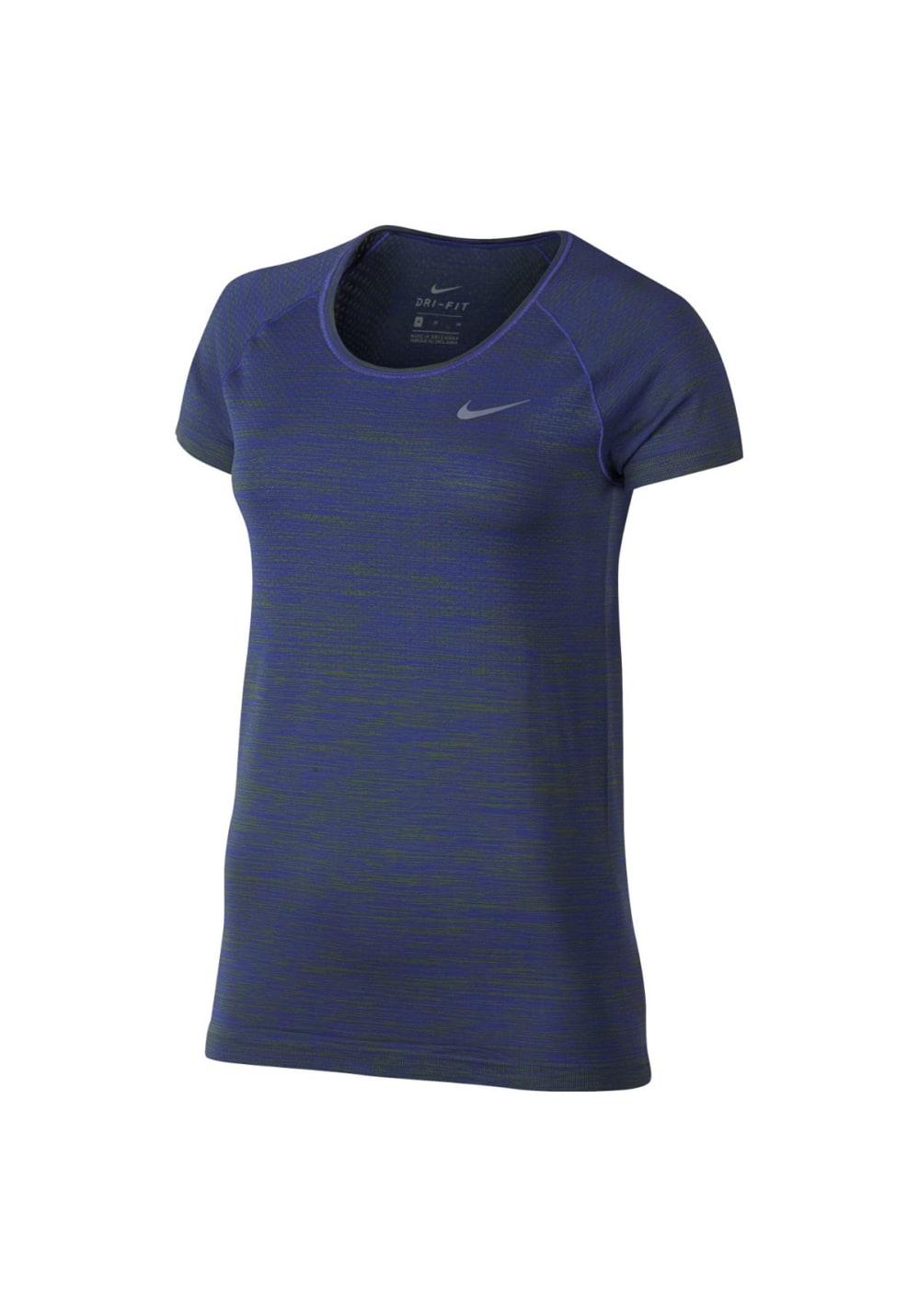 Nike Dri-Fit Knit Tee - Laufshirts für Damen - Blau, Gr. XS