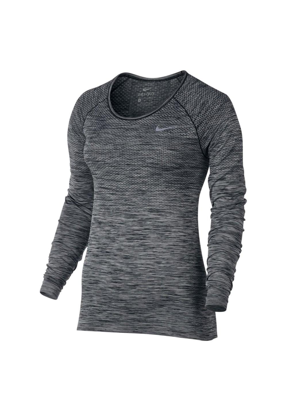 Nike Dri-Fit Knit Tee - Laufshirts für Damen - Grau, Gr. L